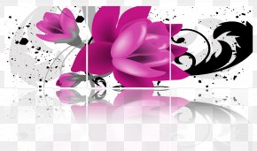 3D Effect Purple Floral Background - 3D Computer Graphics Wallpaper PNG
