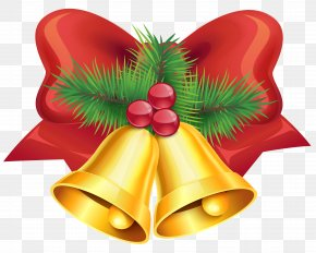 Christmas Red Bow And Bells PNG