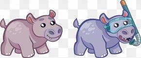 Vector Cartoon Hippo - Hippopotamus Drawing PNG