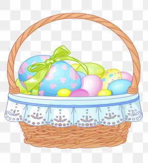 Easter Basket With Eggs Transparent Clipart - Easter Bunny Easter Basket Clip Art PNG