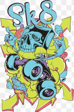 Skateboard Skull Print - Illustration PNG
