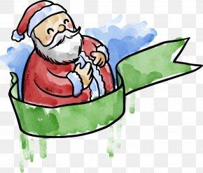 Watercolor Painted Santa Claus Ribbon - Santa Claus Clip Art PNG