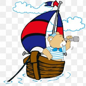 Sailing - Sailing Ship Cartoon Illustration PNG