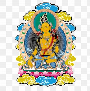 Traditional Tibetan Buddhism Vector Material - Tibet Thangka Vasudhara Buddhism Bodhisattva PNG