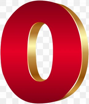 3D Number Zero Red Gold Clip Art Image - Clip Art PNG