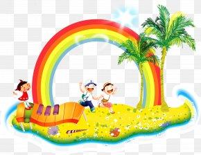 Cartoon Child Running Coconut Tree Rainbow Decoration Background - Drawing Cartoon Clip Art PNG