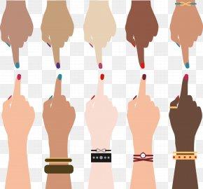 Vector Hand-painted Nail - Hand Race Thumb PNG