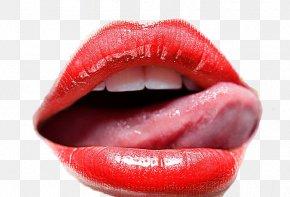 Kiss - Lipstick Tongue Kiss Wallpaper PNG