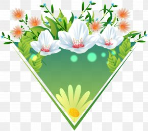 Decorative Floral Pattern Vector Triangle Labels - Floral Design Flower PNG