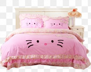 Bed - Hello Kitty Bed Sheet Bedding Bedroom Comforter PNG