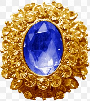 Sapphire - Charms & Pendants Gold Brooch PNG
