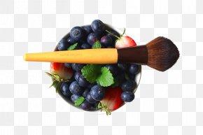 Bowl Of Blueberries Strawberries Makeup Brush - Cosmetics Makeup Brush Personal Care Beauty PNG