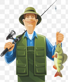 Holding A Fishing Rod And A Fish Man - Fisherman Fishing Rod Clip Art PNG