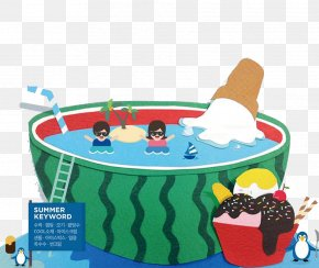 Watermelon - Swimming Pool Cartoon PNG
