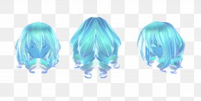 Middle Hair Style - Hairstyle Ponytail Blue Hair MikuMikuDance PNG
