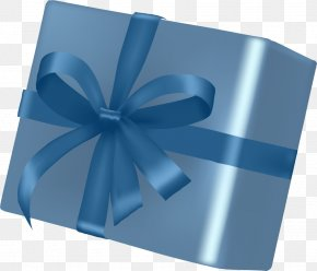 Simple Blue Gift Box - Gift Box Packaging And Labeling Ribbon PNG