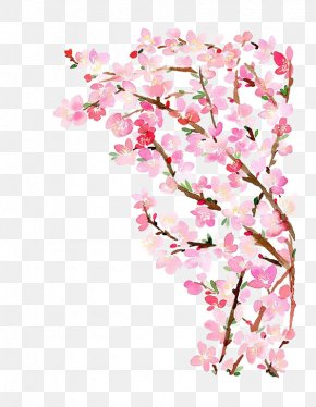 Peach Tree - Paper Cherry Blossom Watercolor Painting PNG
