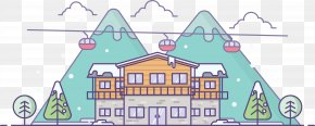 Cartoon Flat Villa In The Snow Cottage - Snow Gratis Illustration PNG