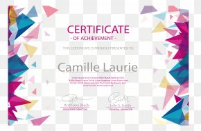 Color Triangle Floating Pattern Border Certificate - Diploma Euclidean Vector Academic Certificate Graduation Ceremony Akademickxfd Certifikxe1t PNG