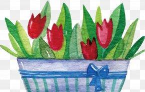 Pot Of Tulips - Flower Clip Art PNG