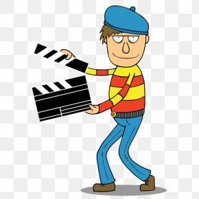Cartoon Man Holding Log Card - Film Director Cartoon Royalty-free Illustration PNG