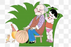 Honor His Parents Hammer Back - Old Age Parent Child Filial Piety PNG