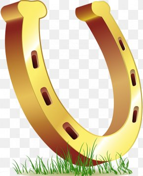 Cartoon U-shaped Golden Horseshoe - Horseshoe Saint Patricks Day Clip Art PNG