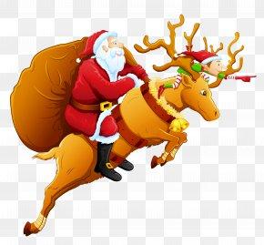 Santa And Reindeer PNG Clipart - Santa Claus's Reindeer Santa Claus's Reindeer Christmas Clip Art PNG