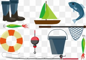 Vector To The River Fishing - Fishing Net Fishing Rod Illustration PNG