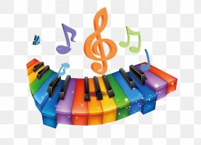 Color Cartoon Musical Note Keyboard - Musical Note Keyboard PNG