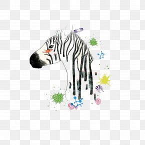 Colorful Zebra - Drawing Zebra Art Watercolor Painting Illustration PNG