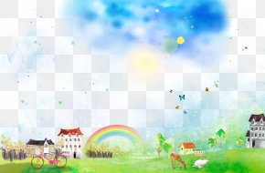 Watercolor Fantasy Landscape Free Download - Poster Cartoon Watercolor Painting PNG