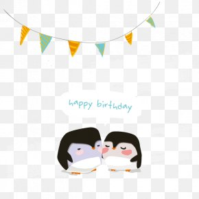 Vector Happy Birthday - Penguin Wedding Invitation Greeting Card Birthday PNG