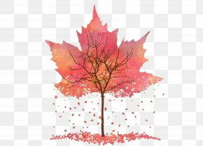 Watercolor Pink Trees Maple Leaf - Art Autumn Printmaking Drawing PNG