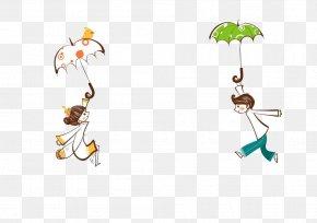 Rain - Cartoon Umbrella Rain Illustration PNG