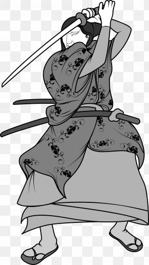 Japanese Ninja Bodyguard Warrior Black And White Picture - Black And White Warrior Drawing Clip Art PNG