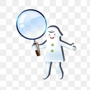 People Take A Magnifying Glass - Magnifying Glass Cartoon Clip Art PNG