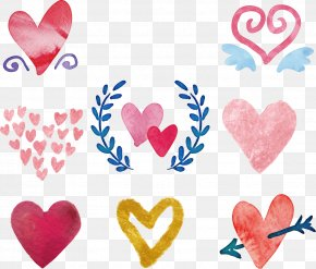 Vector Hand-painted Love - Watercolor Painting Love Heart Drawing PNG