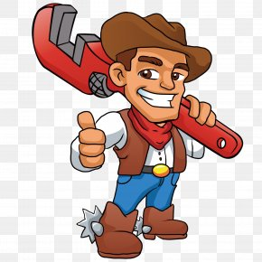 Carrying A Wrench Maintenance Master - Plumber Cowboy Stock Photography Illustration PNG