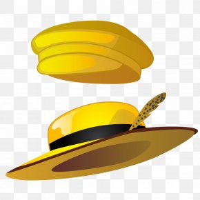 Two Yellow Hat - Straw Hat Cartoon Illustration PNG