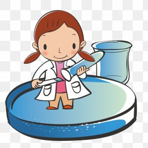 Female Scientists In The Study Test Tube - Cartoon Download Clip Art PNG