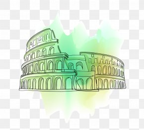 Vector Drawing Green Colosseum - Colosseum Vecteur Drawing Illustration PNG