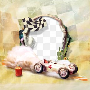 Checkered Flag Border Speedway - Black And White PNG