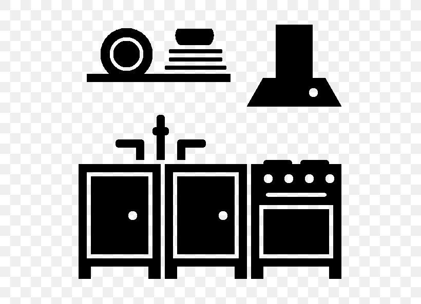 Kitchen Cabinet Kitchen Utensil Furniture Icon Kitchen Design, PNG, 593x593px, Kitchen Cabinet, Area, Black, Black And White, Brand Download Free