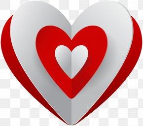 Red White Heart Clip Art - Design Clip Art PNG