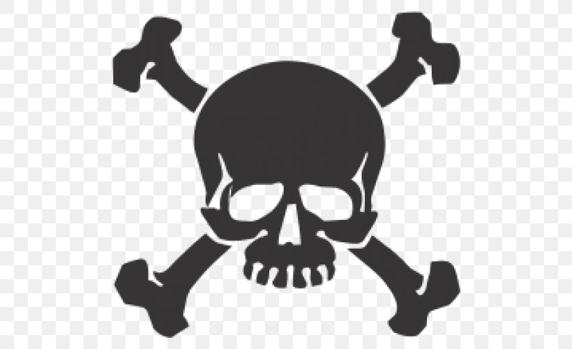 Wall Decal Skull And Crossbones Sticker Skull And Bones, PNG, 500x500px, Decal, Adhesive, Black And White, Bone, Bumper Sticker Download Free