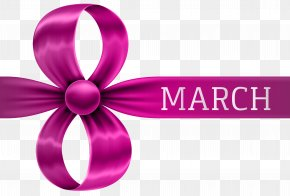 8 March Pink Bow Clipart Image - Pink Clip Art PNG