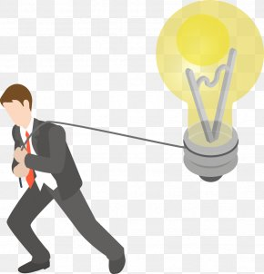 Vector Business People Pull Bulb - Light Business Drawing PNG