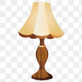 Vector Wooden Table Lamp - Table Lampshade Lampe De Bureau PNG