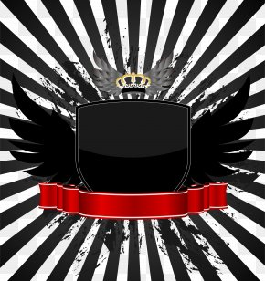 FIG Simple Black Ribbon Shield Vector Wings Crown - Royalty-free Illustration PNG